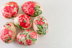 Top view of decorated Easter eggs stock photos