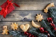 Decoration with cookies for Christmas and New Year on a wooden b Royalty Free Stock Images