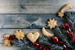 Decoration with cookies for Christmas and New Year on a wooden b Royalty Free Stock Photos