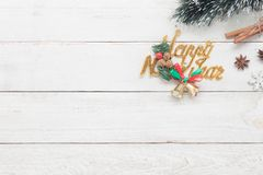 Top view of decorations & ornaments Merry Christmas and Happy new year Stock Photo