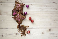 Top view of decorative objects on wooden background Royalty Free Stock Image