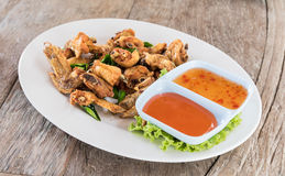 Top view Deep fried chicken wings Royalty Free Stock Photos