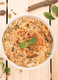 Top view of delicious chicken biryani in a round bowl. Stock Photo