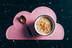 Top View Cornflakes on Colorful Table stock photography