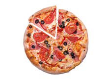 Top view of delicious pizza with ham and tomatoes with a slice r Stock Image
