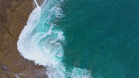 Top view of the desert stony coast on the Atlantic Ocean. Coast of the island of Tenerife. Aerial drone footage of sea. Aerial view of the desert stony coast on stock video footage