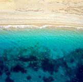 Top view of a deserted beach. The greek coast of the Ionian Sea Stock Photo