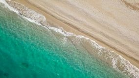 Top view of a deserted beach. Greek coast of the Ionian Sea stock video