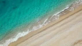Top view of a deserted beach. Greek coast of the Ionian Sea stock video footage