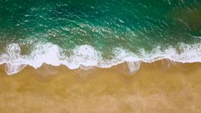 Top view of a deserted beach. The Portuguese coast of the Atlantic Ocean stock footage