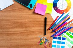 Top View of designer working desk Royalty Free Stock Images