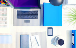 Top view of desk background with laptop, digital devices, office Royalty Free Stock Photos