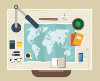 Top view of desk background with map, digital. Flat design modern vector illustration concept of creative office workspace, workplace. Top view of desk Royalty Free Stock Photography