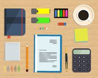 Top view of a desk background Royalty Free Stock Images