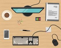 Top view of a desk background. There is a computer, smart phone, gray folder, stationery and cup of coffee. On a wooden background. Flat design vector Stock Images