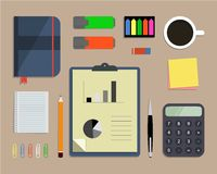 Top view of a desk background. Where there is a calculator, office objects, stationery, documents and cup of coffee. Flat design vector illustration Royalty Free Stock Image