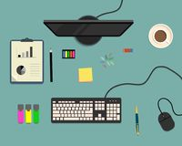 Top view of a desk background, where there is a monitor, keyboard, computer mouse, office elements, stationery and cup of coffee. Vector illustration royalty free illustration