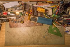 Top view of a desk. Free space. stock image