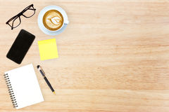 Top view desk top with office items image design header with cop Royalty Free Stock Photography