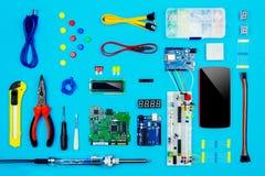 Top view of desktop of  hardware engineer Stock Image