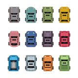 Top view different automobiles. Top view different color automobiles Stock Image