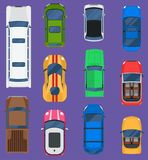 Top view different automobiles vehicle set isolated on background. Car top view automobile vector racing, taxi, truck. Transport. Wheel motor car top view Stock Images