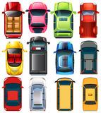 Top view of different cars Royalty Free Stock Images