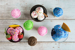 Top view different flavor ice cream royalty free stock photography