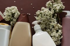 Top view of different hygienic products and flowers on brown background. Wellness beauty treatment. Organic health care products royalty free stock images