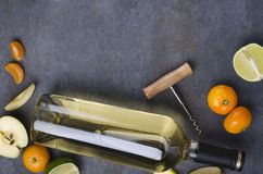Top view of different kinds of fruits and white wine in the glass bottle on the rural gray surface.Empty space for text stock images