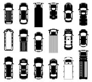 Top view of different roof cars on the road. Black vector icons of automobiles. Sedan monochrome transport, illustration of collection different automobile Stock Images