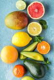 Top view of different selected juicy organic tropical fruits. Superfood, healthy food background Stock Photography