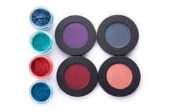 Top view of different type eye shadows set Stock Image