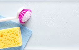 Top view of cleaning items. Concept of purity and housework. Empty space for design stock photography