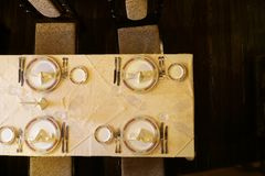 Top view of dining table Royalty Free Stock Photography