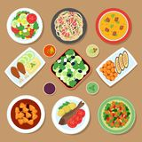 Top view dinner table with european dishes and japanese cuisine meal. Cartoon food vector set isolated. Illustration of menu plate with meal, set of Royalty Free Stock Image