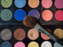 Top View of dirty makeup brush Stock Images