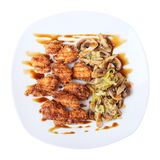 Top view of dish with chicken nuggets Stock Photo