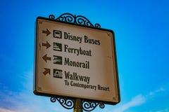 Top view of Disney transportation sign in Magic Kingdom at Walt Disney World .