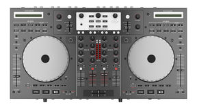 Top view of dj mixer controller isolated on white Royalty Free Stock Image