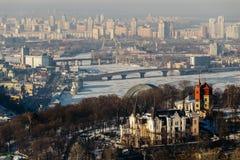 Top View of the Dnieper Park and Havana bridge in Kiev, Ukraine in winter day Royalty Free Stock Image