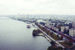 Top view of the Dnipro city Royalty Free Stock Images