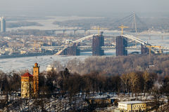 Top View of the Dnipro park and Podolsky bridge in Kiev, Ukraine  in winter day Royalty Free Stock Photo