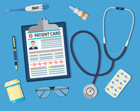 Top view of doctor workplace Stock Images