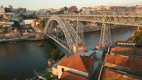 Top view of Dom Luis I Bridge at Ribeira in Porto, Portugal. stock footage