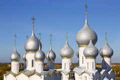 Top view of the domes of the cathedrals in the Kremlin,  Rostov the Great Royalty Free Stock Photo