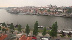 Top View of Douro river at center of Porto. stock footage
