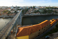 Top View of Douro river at center of Porto. Portugal. Royalty Free Stock Images