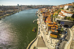 Top View of Douro river at center of Porto. In 1996, UNESCO recognised Old Town of Porto as a World Heritage Site. Royalty Free Stock Photos