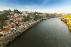 Top View of Douro river at center of Porto. In 1996, UNESCO recognised Old Town of Porto as a World Heritage Site. Stock Photo